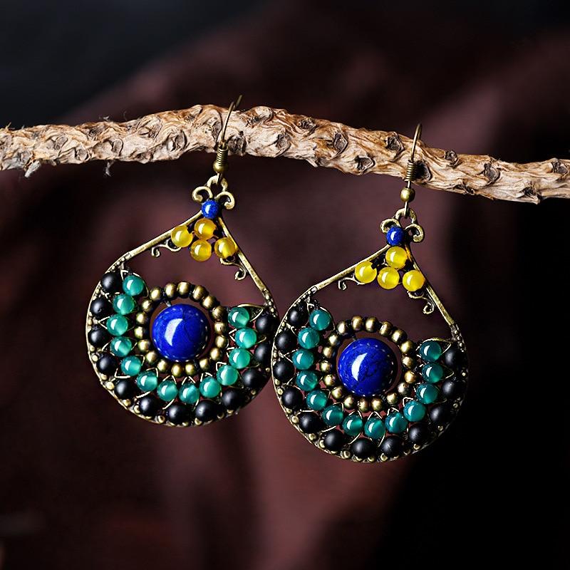 Китайский Стиль серег для женщин, серьги-капельки для девушек, Модные Этнические украшения, подарок с синими бусинами, камень, Лидер продаж