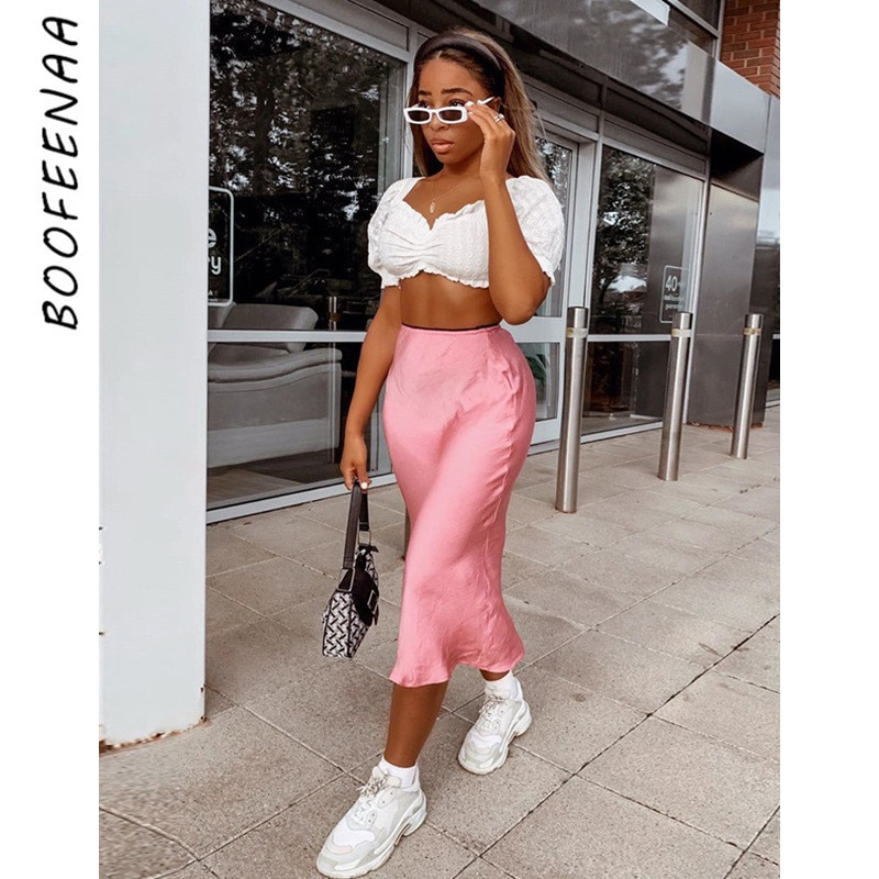 BOOFEENAA Elegant Sexy Satin Silk High Waist Long Skirt 2019 Fashion Casual A Line Skirts Womens Pink Yellow Black C70-H72