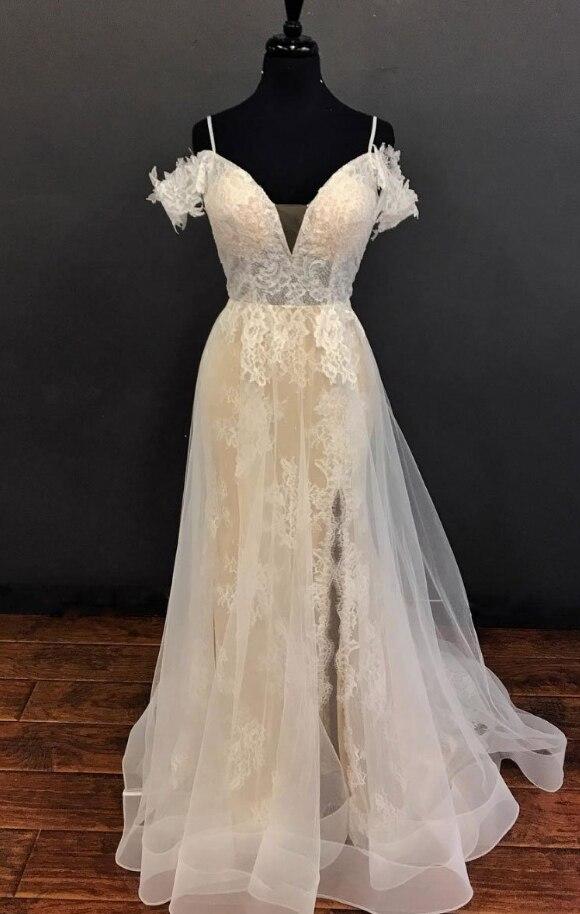 Champagne Prom Dresses 2019 New Style Real Sample Tulle Cover Lace Spaghetti Straps Vestidos De Formatura