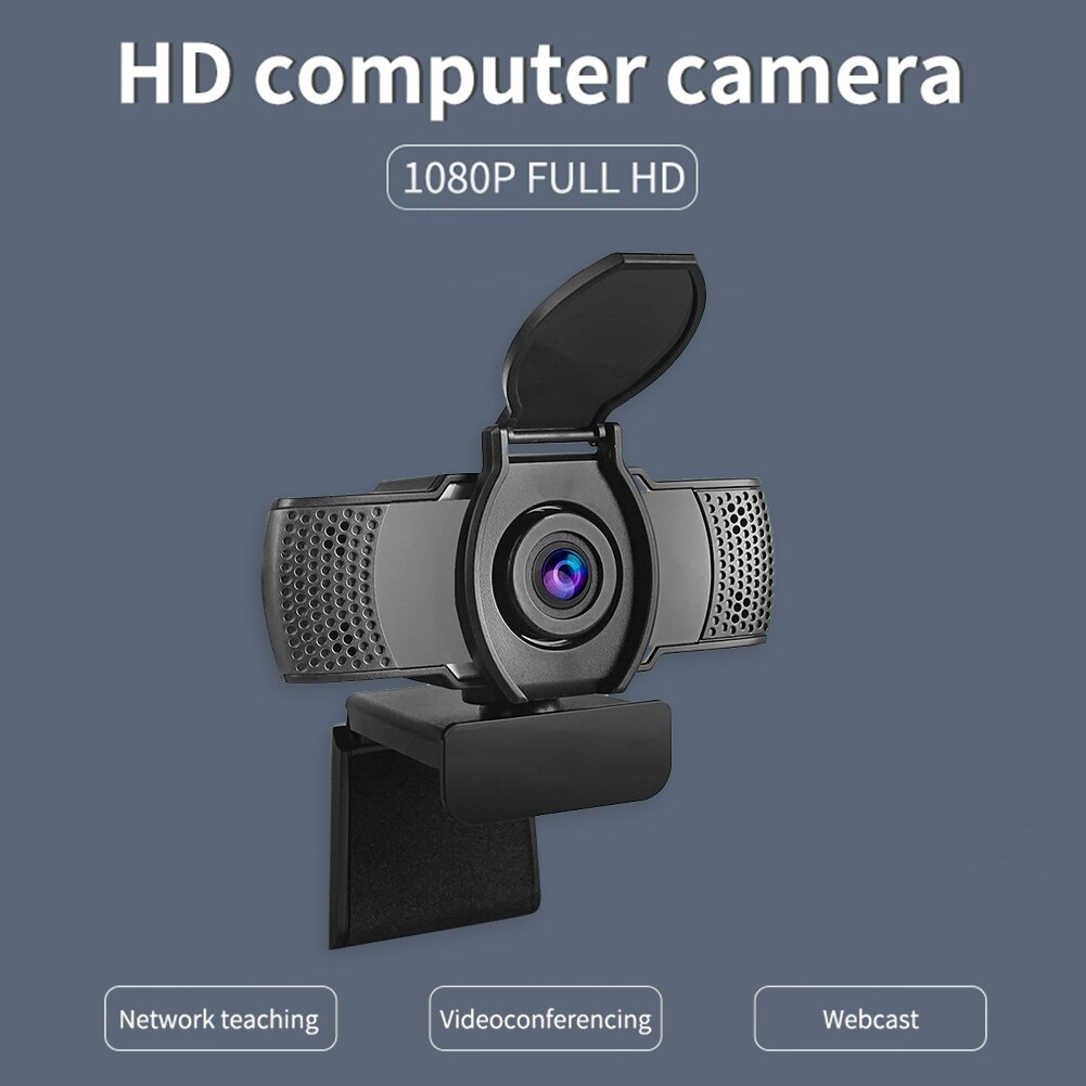 1080p HD USB interface live online class computer camera, built-in microphone, lens can be rotated, compatible office software
