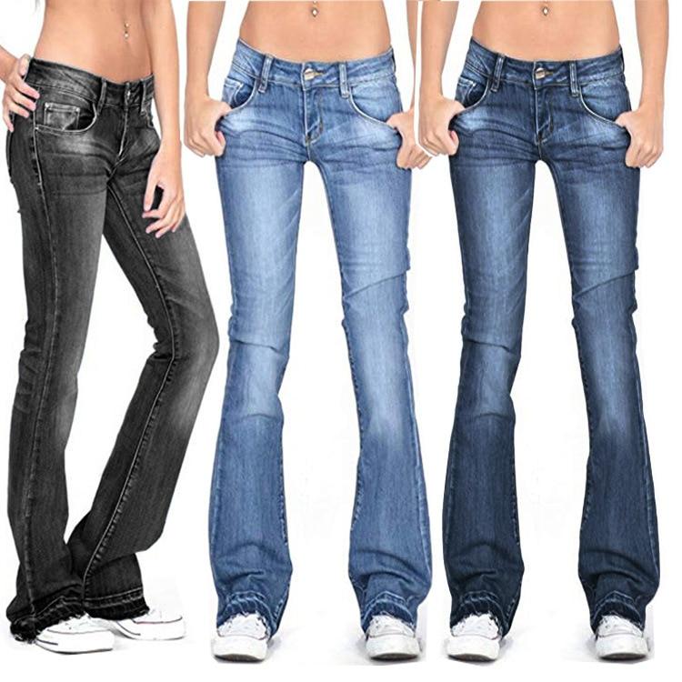 Summer 2021 Thin Black Flare Jeans Women Casual Skinny Mid Waist Bell Bottom Jeans Y2k Denim Pants W