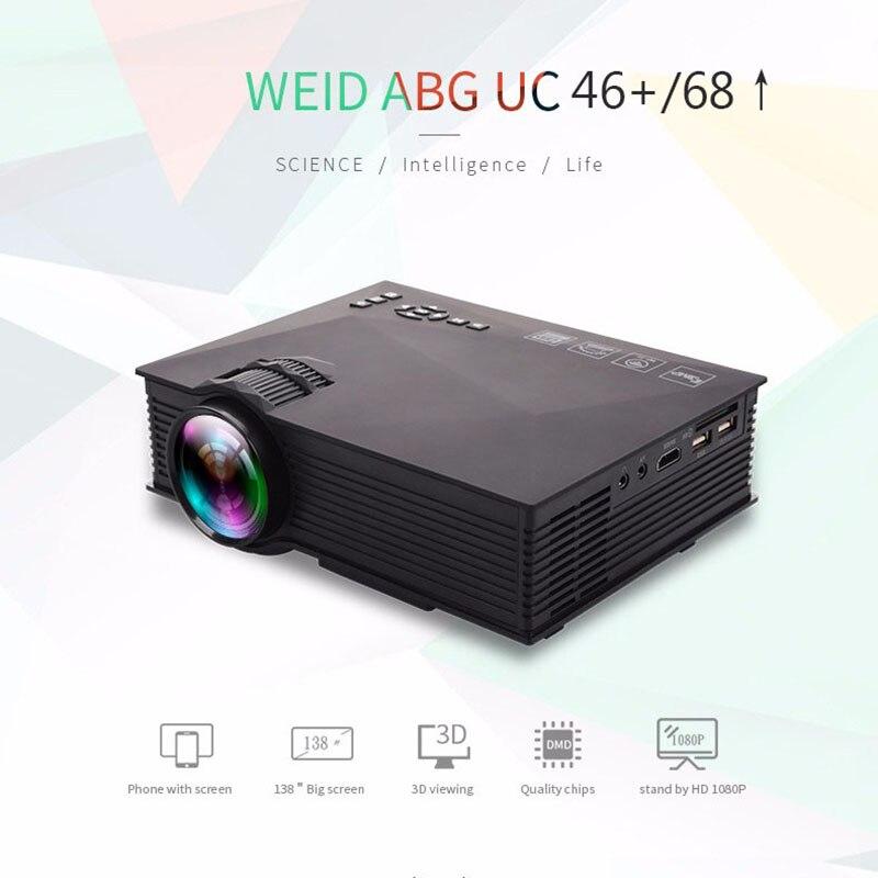 UC68-شاشة عرض جهاز عرض (بروجكتور) ليد محمولة 1800 لومن, 80 110 ANSI HD 1080p Full HD فيديو Wifi البروجيكتور Proyector beمر للسينما المنزلية