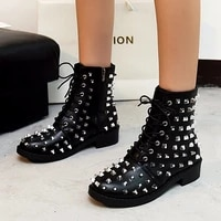 winter punk rivet boots women round head toe leather booties studded thick low heels chelsea ankle plush botas de mujer