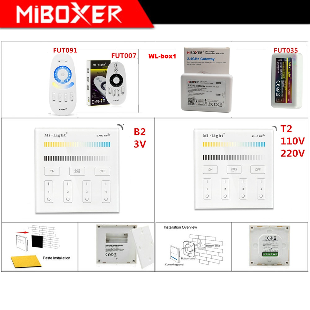 mi light b1 4 zone brightness dimmer smart touch panel remote controller powerd by 3v 2 aaa battery wall mount 2 4g wireless Miboxer B2/T2 4-Zone Brightness Smart touch Panel;FUT035 CT led strip Light dimmer;WL-Box1 WiFi iBox Smart Controller
