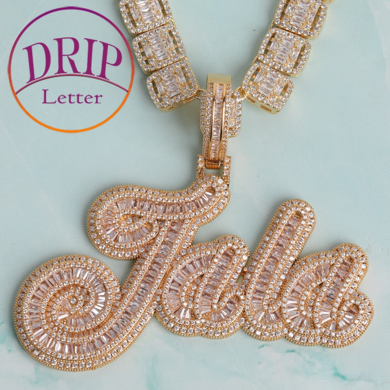 Custom Brush Cursive Letter Pendant Micro Paved CZ Personalized Hip Hop Name Necklace Jewelry