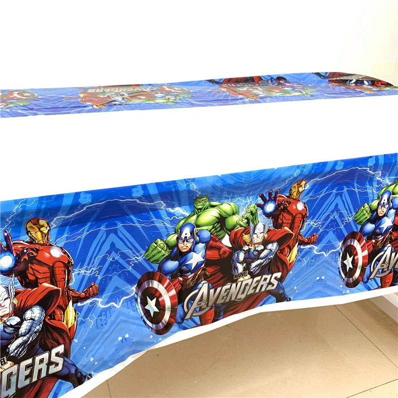 Disney Avenger Captain America 1.1*1.8M Birthday Party Decoration Kids Supplies Disposable Tableware Tablecloth Baby Shower