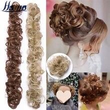 HAIRRO Synthetic Chignon Messy Scrunchies Elastic Band Hair Bun Straight Updo Hairpiece High Temperture Fiber Natural Fake Hair
