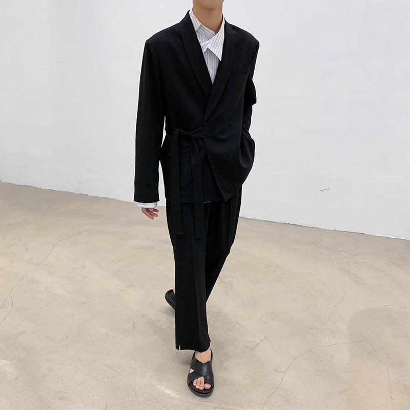 2 pçs conjuntos de ternos estilo japão casual rendas quimono terno jaqueta calça masculina streetwear moda mostrar blazer casaco outerwear calças