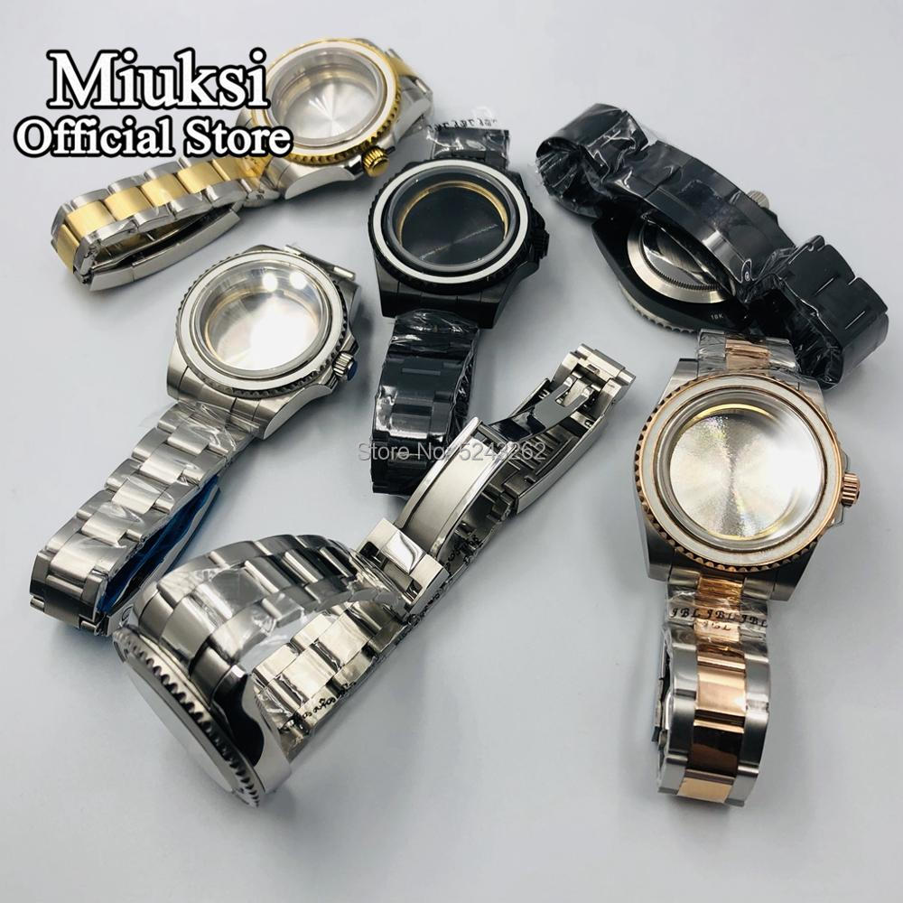 Miuksi 40mm case sapphire glass stainless steel watch case fit for NH35 NH36 ETA 2836 Mingzhu DG2813/3804 Miyota 8205 8215 821A