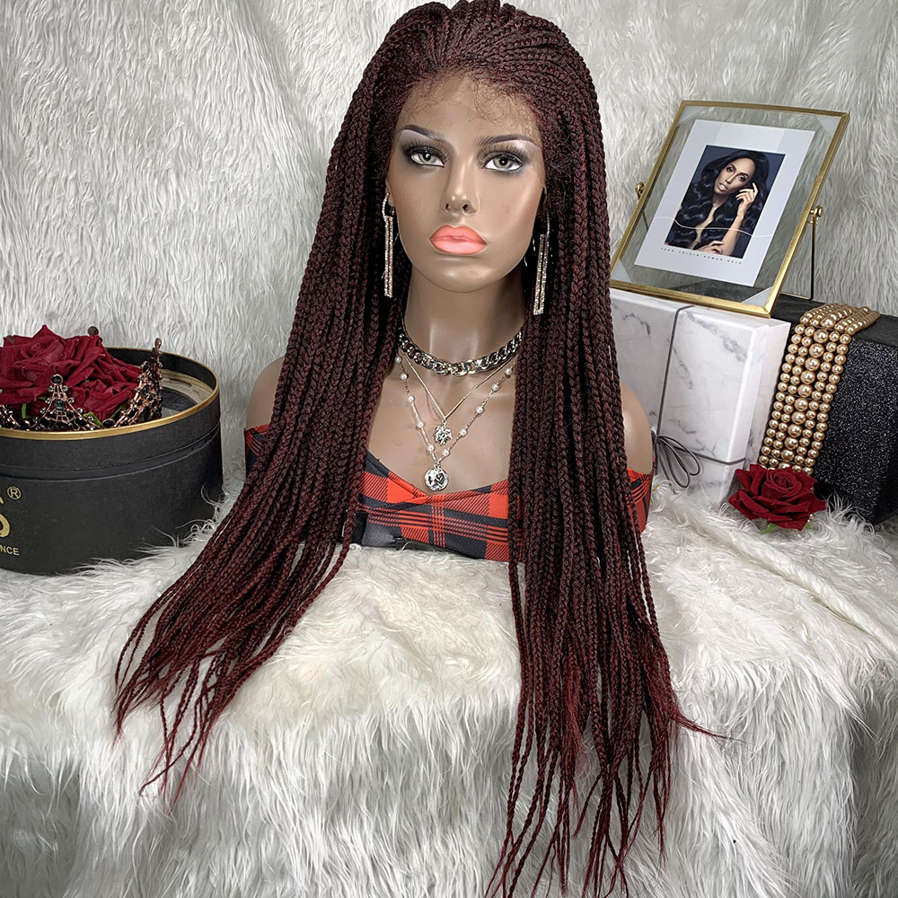 Synthetic Braided Lace Front Wigs Box Braid Lace Front Wig Toocci African Perruque Humain Box Braided For African Black Women
