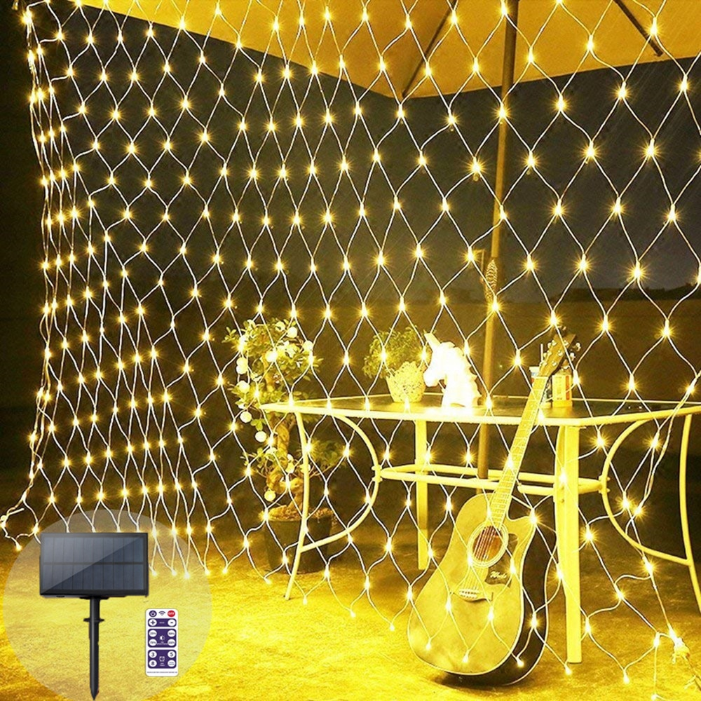 إكليل إضاءة حديقة الجنية ، مقاوم للماء ، مع جهاز تحكم عن بعد ، شبكة عيد الميلاد ، 1.8 م × 1.2 م