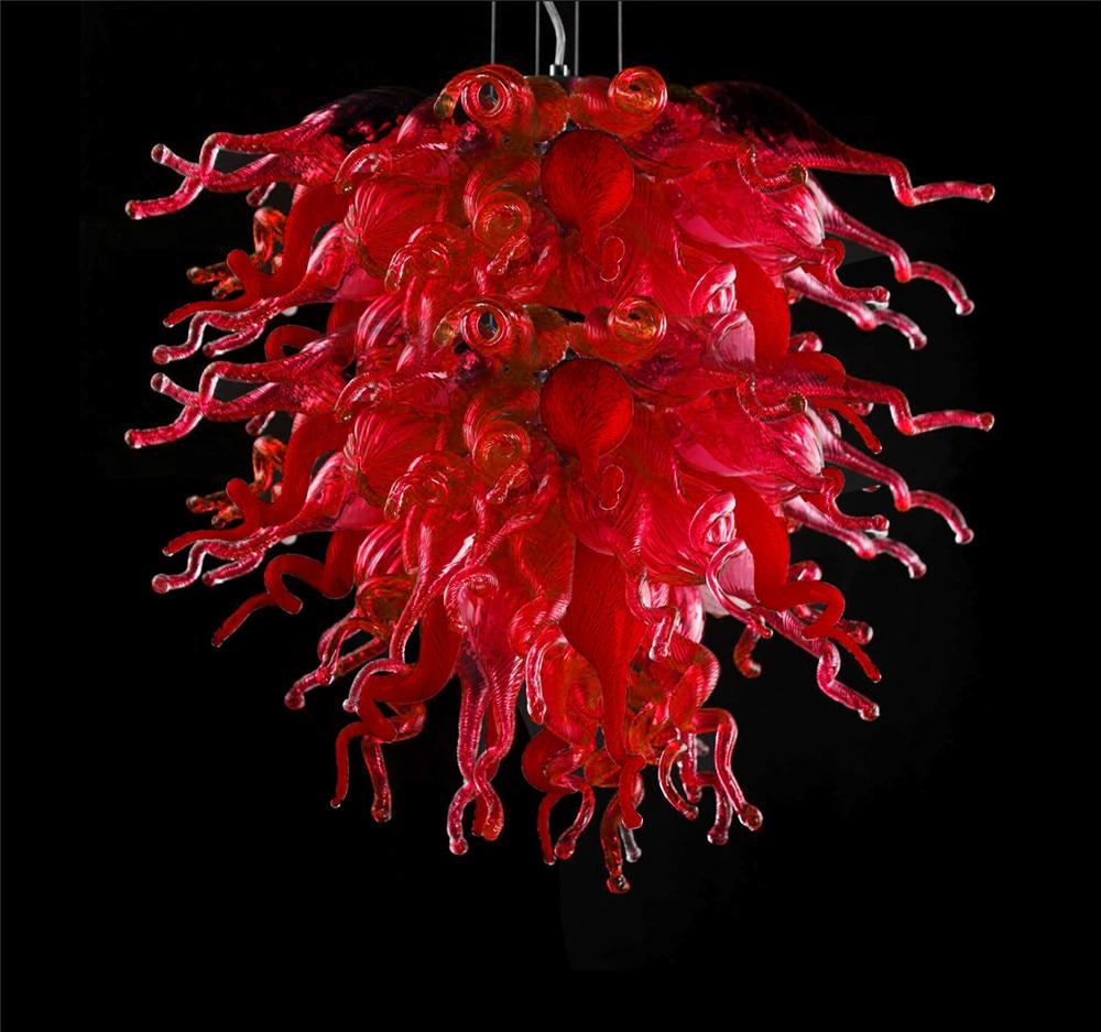 غرفة المعيشة فندق رومانسية مصباح الديكور اليد في مهب مورانو نجفة كريستال زجاجية باللون الأحمر