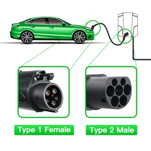 EV Charger Type 1 Female to Type 2 Male EVSE Charger for Electric Vehicle 5 Meters EV Charging Cable J1772 16A