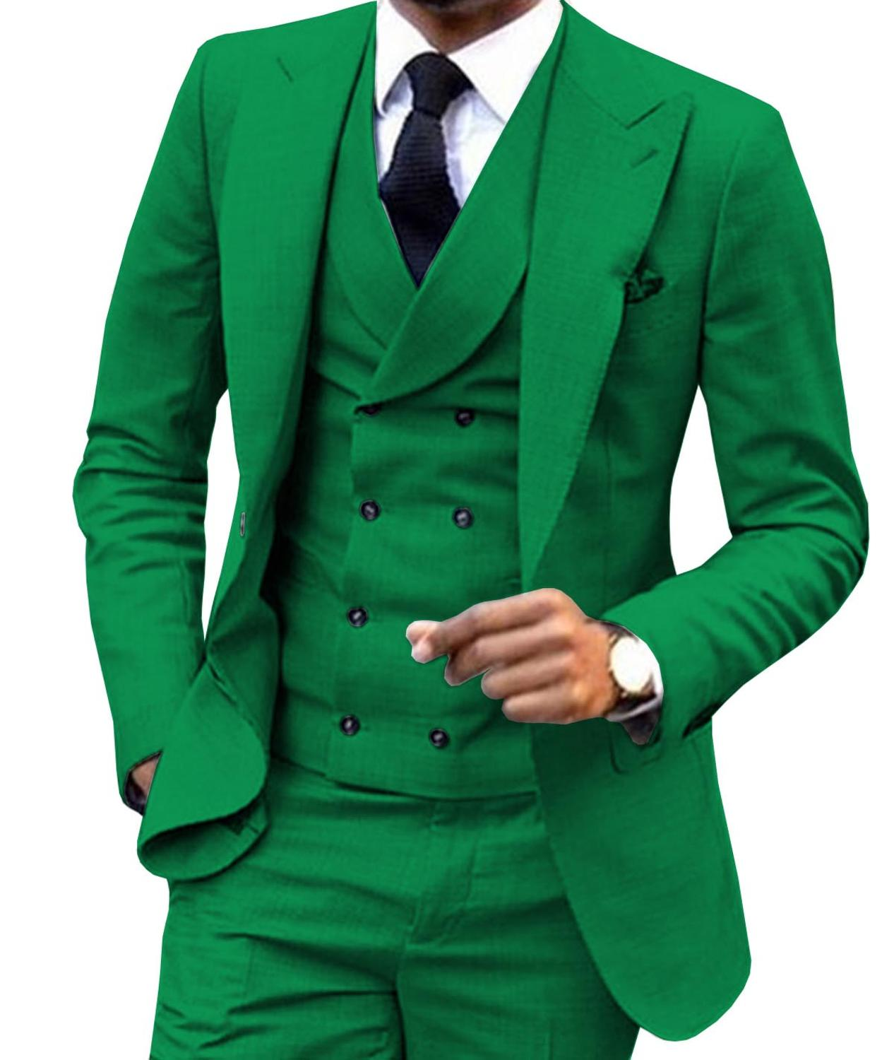 Fashion Men Suit 3 Pieces Wedding Dress And Party For One Buttun Blazer Jacket Double Breasted Vest &Pants