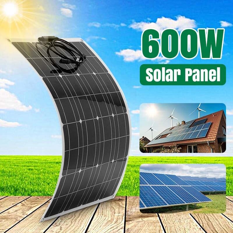 cargador portatil para celular Panel Solar de 18V, 300W, 600W, Banco de energía monocristalino Flexible y eficiente, Panel Solar para exteriores, coche, barco, batería para teléfono inteligente