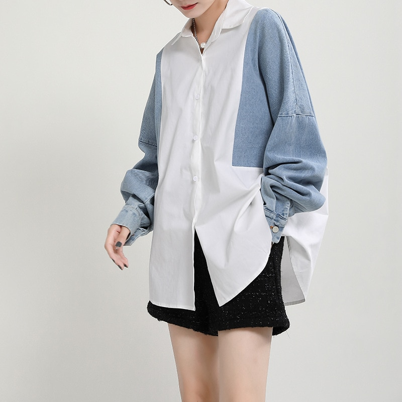 YourSeason New Patchwork Ladies Fashion Tops And Blouses Turn Down Collar Women Irregular Loose Shirts 2021 Autumn Spring
