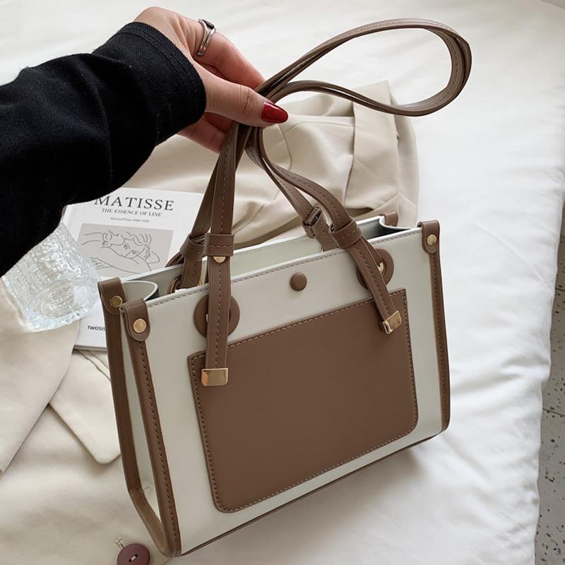 Contrast Color Large Shoulder Bag Women Travel Bags Leather Pu  Luxury Handbags Women Bags Designer Purses Sac A Main Femme недорого