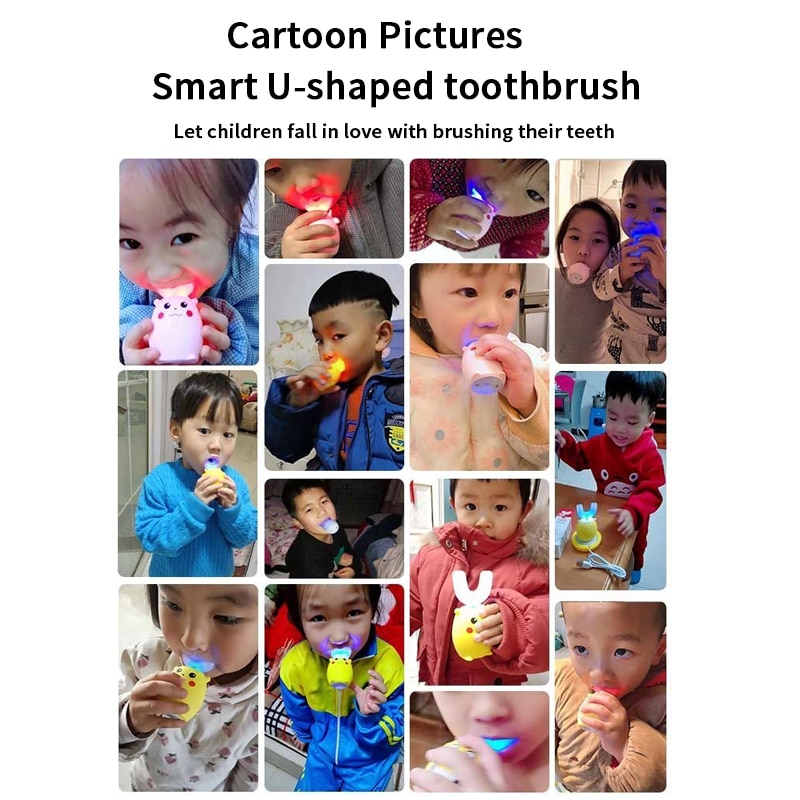 Smart Electric Toothbrush Kids Silicon 360 Degrees XioMi Automatic Ultrasonic Teeth Tooth Brush Cartoon Pattern Children Home enlarge