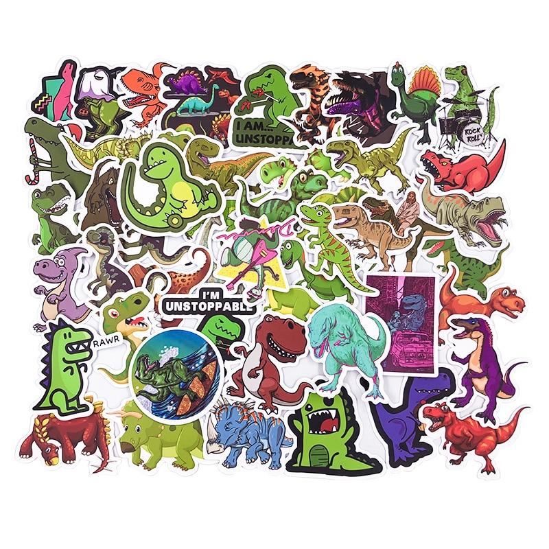 50 piezas pegatina niños dibujos animados anime dinosaurio Series pegatinas para Notebook PC bicicleta monopatín coche Moto DIY juguete impermeable regalo