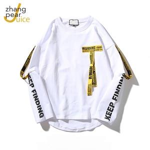 Spring Men T Shirt Hip Hop O Neck Long Sleeve Casual Ribbon Decoration Streetwear Top Tees Men White Black T Shirt