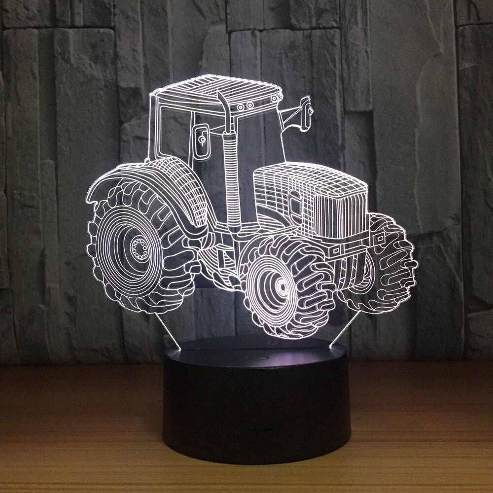 Tractor de granja 3D LED lámpara de luz Deco forma de automóvil USB de carga de la lámpara del Interruptor táctil 7 colores niños Luz de noche para regalo de Año Nuevo