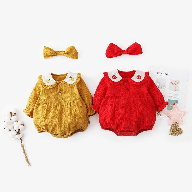 Bebé mameluco de primavera recién nacido bebé escalada ropa princesa niñas manga larga bordado piña y fresa prendas triangulares