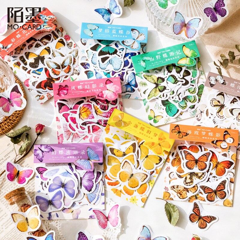 45 листов/упаковка, наклейки-бабочки для дневника