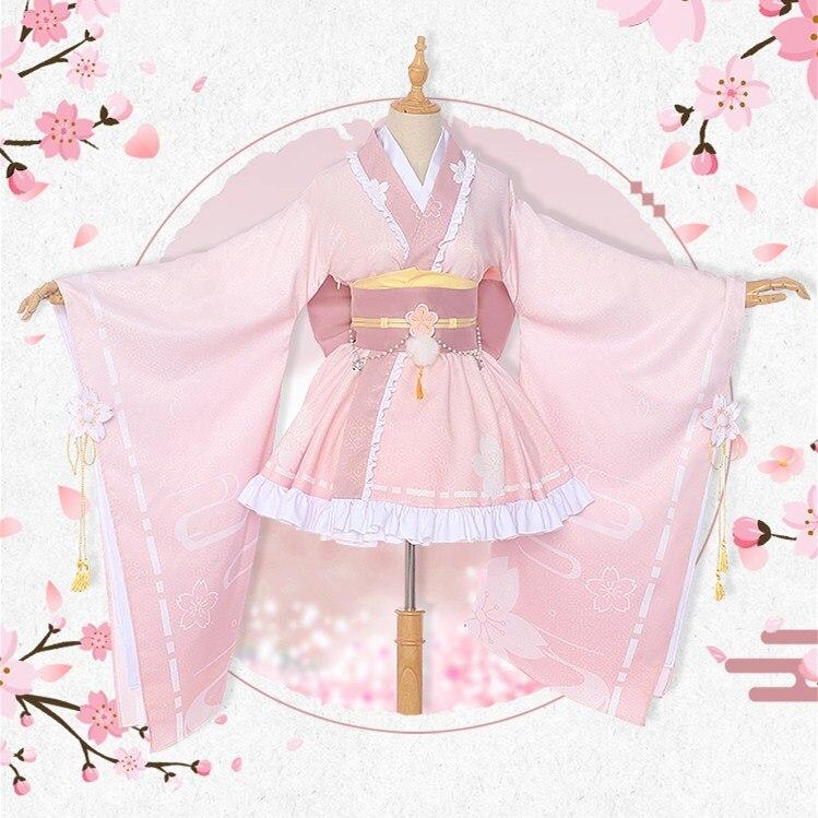 Anime Boku No mi héroe ACADEMIA Uraraka Ochaco Cosplay de Kimono uniforme Lolita vestido conjunto completo nuevo Halloween fiesta disfraces