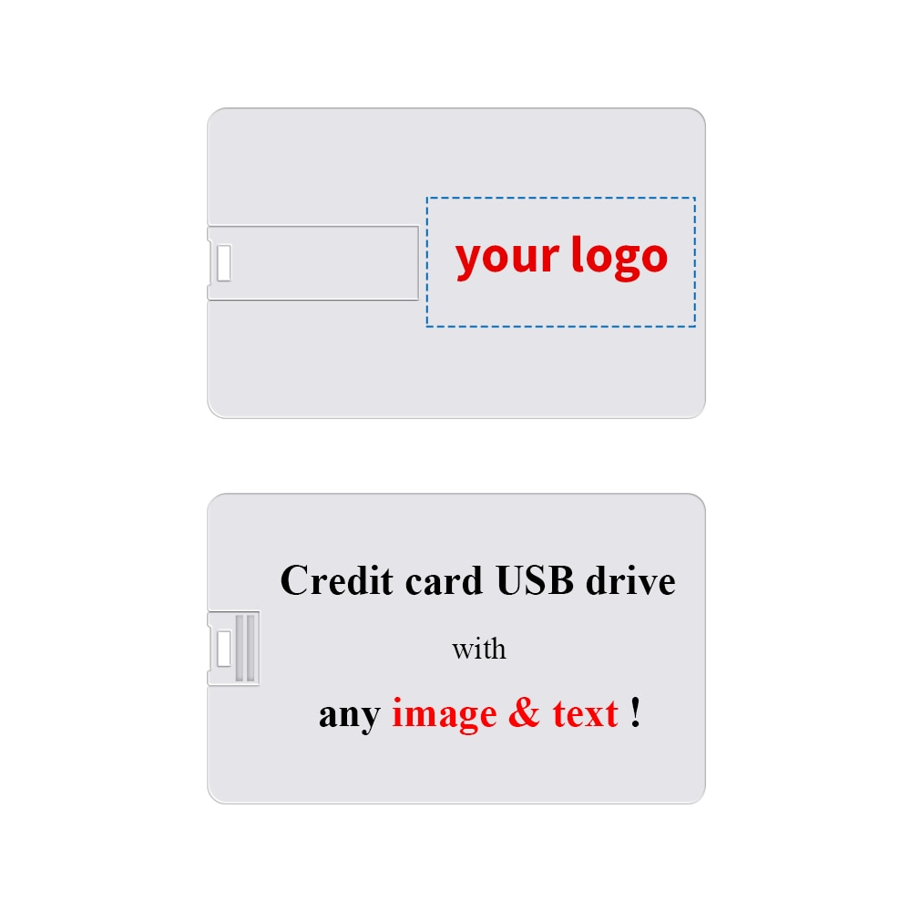 Custom Credit Card Shaped USB Flash Drive 1GB Customized with Your Logo - as Promotional Gift - Bulk Printed 50/100/200 Pack