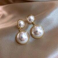 trendy round pendant drop earrings for women fashion pearl charm statement jewelry wedding earrings female 2020