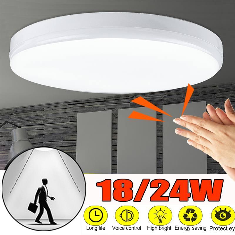 luminaria led de teto com sensor de movimento controle por voz 18 24w suporte para