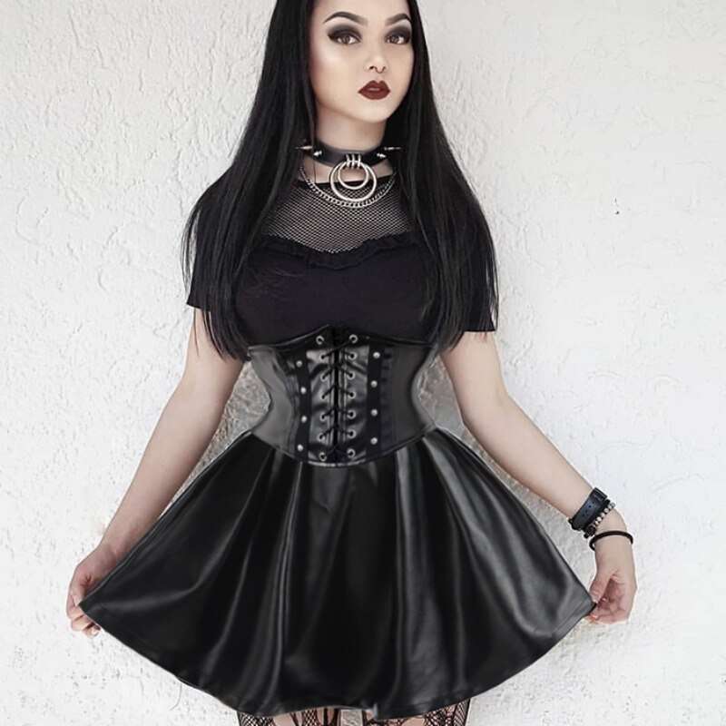 faux leather zip lace up corset Goth Dark Skirts Pu Mini Skirt Women High Waist Lace Up Back Zip Up Pleated Faux Leather Punk Grunge 2021 Fashion Gothic Skirts