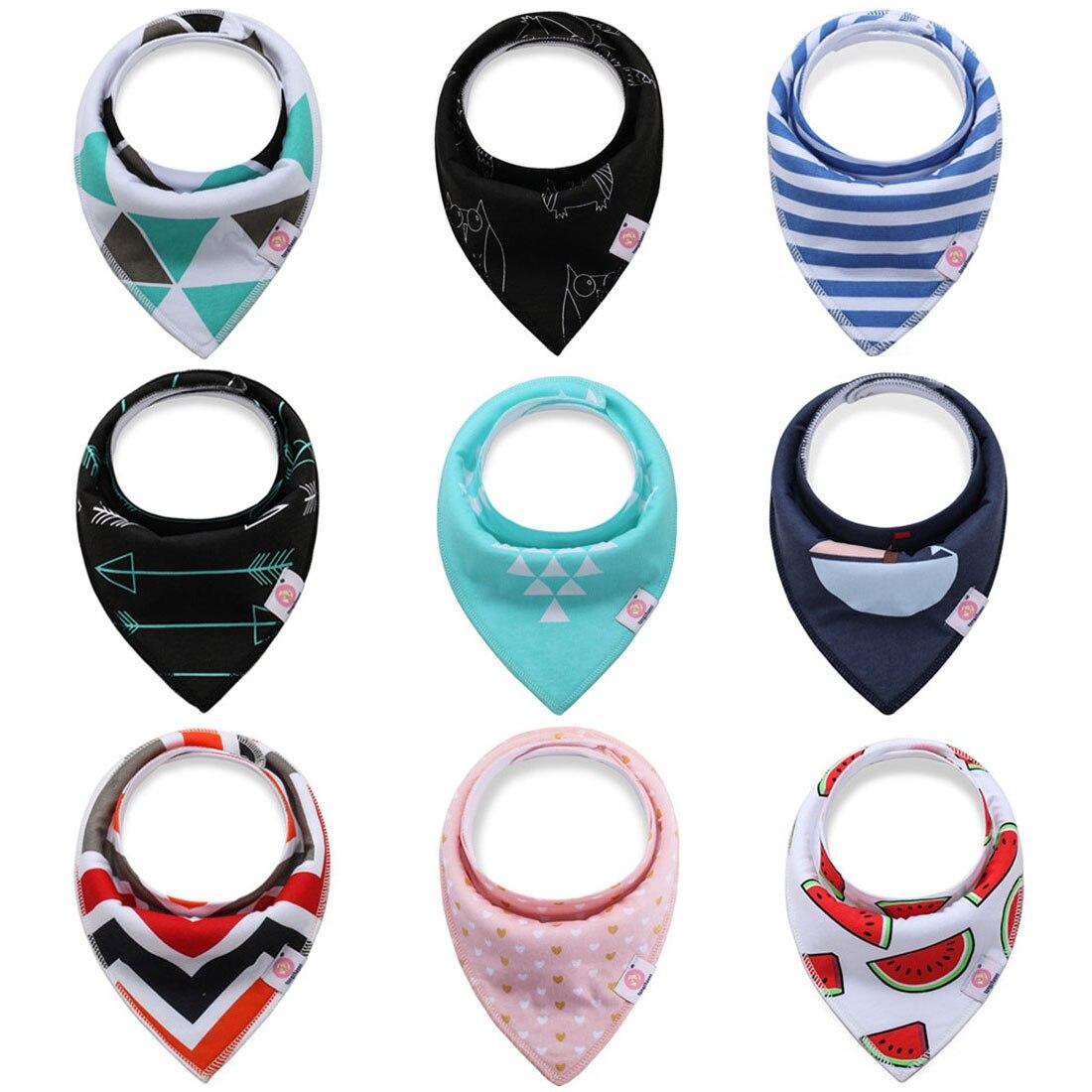 4 unids/lote Baberos de algodón grueso absorción de agua bebé bufanda babero recién nacido niños niñas moda triángulo toalla niños cosa