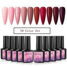 10PCS Nail Art Gel Polish Set 8ML Pure Color UV LED Gel Nail Polish Long-lasting Manicure Set Soak off Varnish Gel Extension Kit