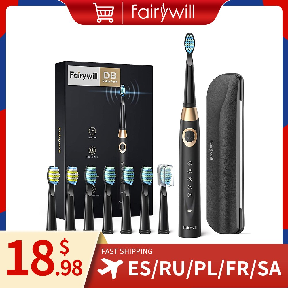 electric sonic toothbrush heads Fairywill Electric Sonic Toothbrush 5 Modes Replacement Heads Waterproof Travel Case Powerful Cleaning Soft Heads Toothbrush Set
