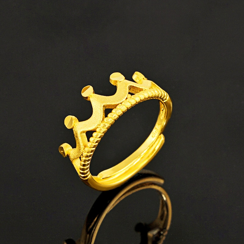 24K Pure Gold Adjustable Open Crown Ring for Women Gold 585 Jewelry Engagement Wedding Women's Gold Ring Fashion Gift 2020 Trend