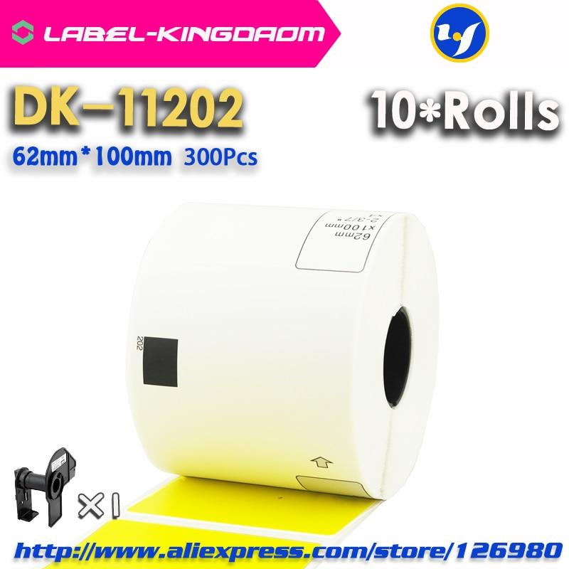 10 رولز الأصفر اللون متوافق DK-11202 التسمية 62 مللي متر * 100 مللي متر 300 قطعة لأخيه طابعة التسمية QL-700/800 DK11202 DK-1202