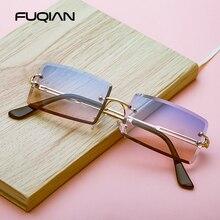 FUQIAN Rectangle sans monture lunettes de soleil femmes mode carré hommes lunettes de soleil pour femme été nuances UV400
