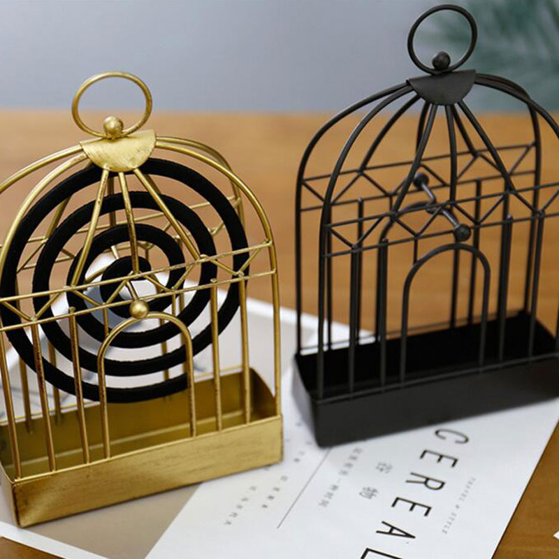 Soporte de la bobina del mosquito de hierro nórdico, estantes dorados decoractivos para colgar en casa, quemador de incienso Vintage, ornamento para pájaros