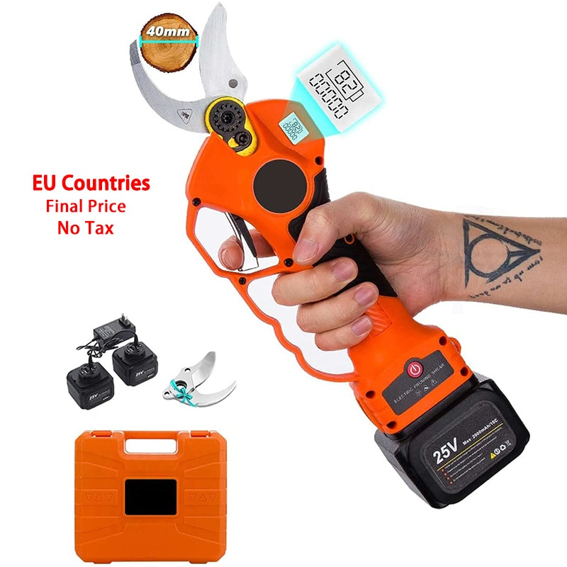 25V Cordless Pruner Lithium-ion Pruning Shear Efficient scissors Bonsai Electric Tree Branches garden tools electric 840 40mm