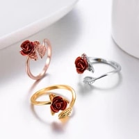 womens ring adjustable ring garden red rose leaf womens ring valentines day gift jewelry
