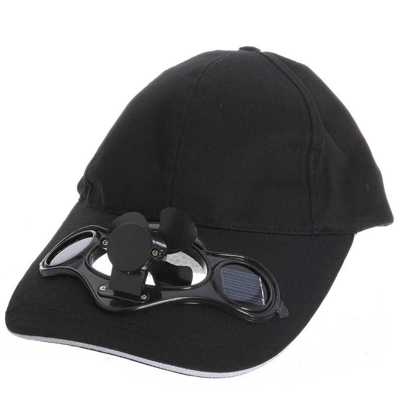 Chapeau de Baseball   Noir, à énergie solaire, refroidissement par ventilateur dair, Camping et voyage