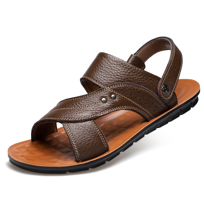 Men's Sandals For Men Outdoor Leather Summer Casual Shoes Flip-Flops Breathable Beach Sandals
