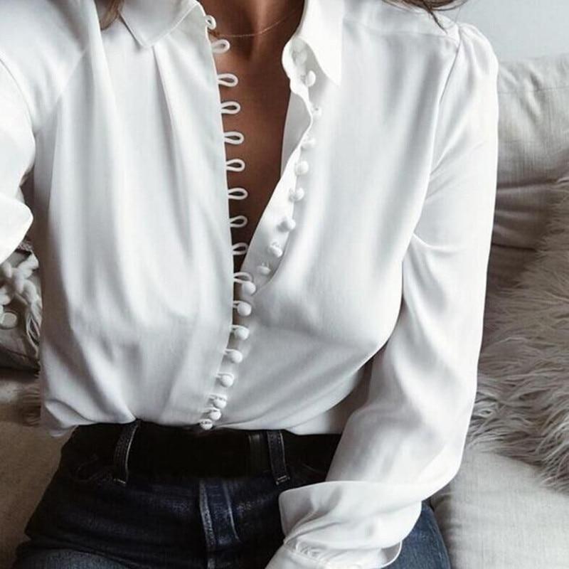 Fashion Women Blouse Shirt Spring Women Clothing Solid Buttons Long Sleeve Shirts Tops Ladies OL Shi