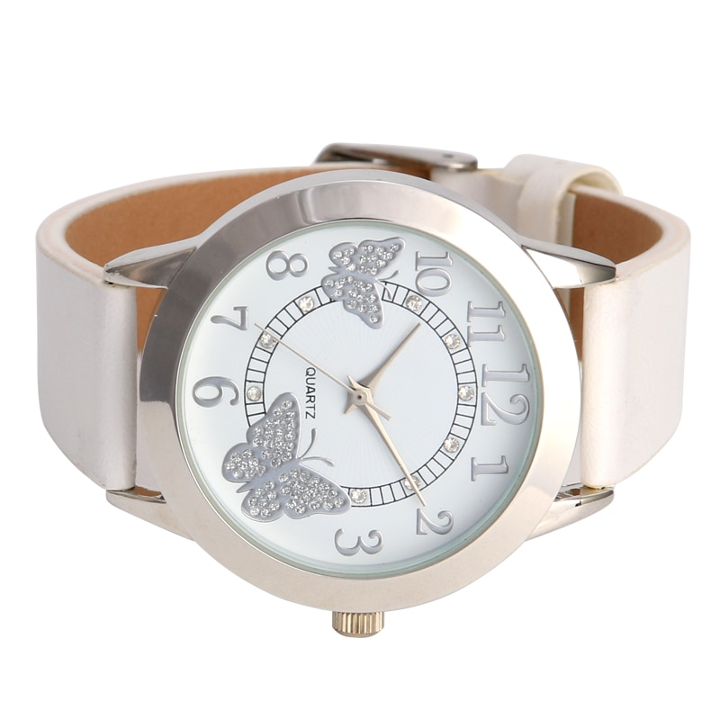 Luxury Leather Women Dress Watches quartz Wristwatches Fashion Flower Butterfly Ladies Bracelet Female Round Clock Quartz Watch enlarge