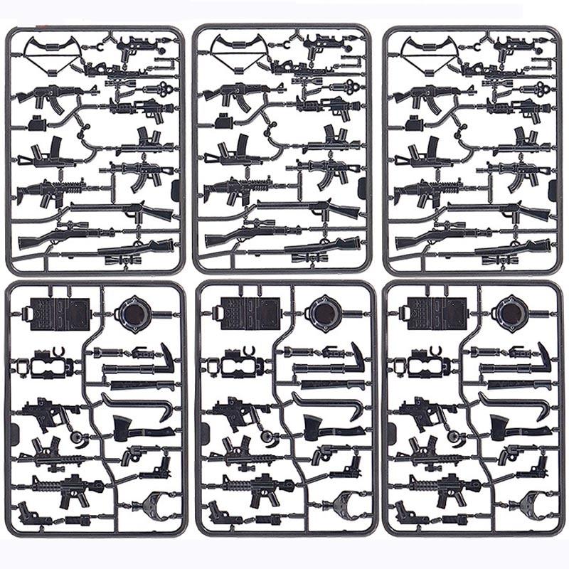 6 uds nuevo Enlighten militar Moc WW2 arma SWAT Pubg pollo cena Asamblea minifigura acción Diy juguetes para niños regalos