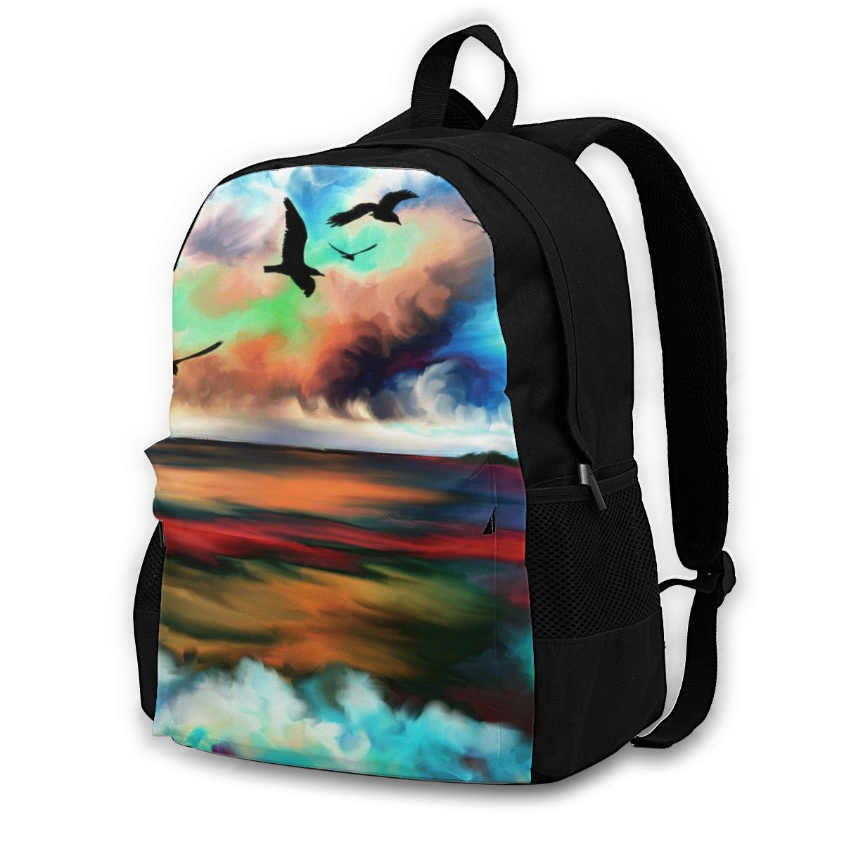على ظهره حقيبة سفر عادية المحيط موجات الطيور البحر السماء المد الاستوائية حقيبة مدرسية حقيبة كتف الموضة للفتيات في سن المراهقة على ظهره