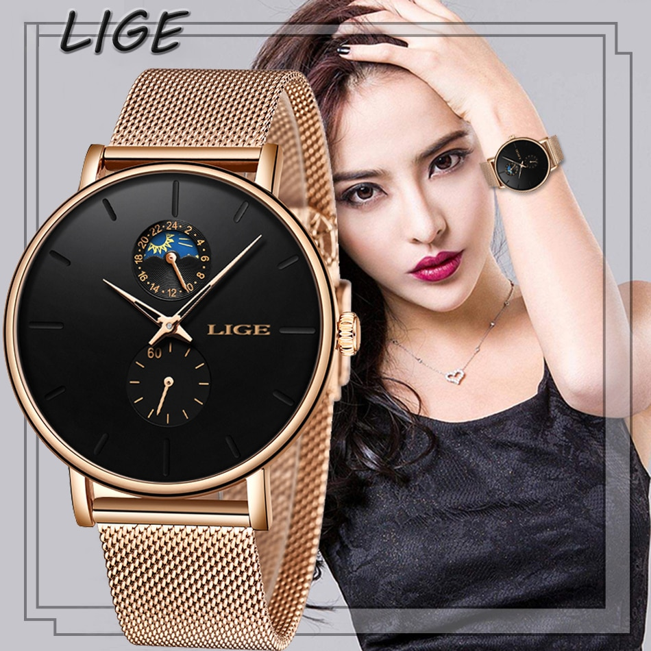 LIGE Women's Watches Top Brand Luxury Waterproof Watch Fashion Ladies Stainless Steel Ultra-Thin Casual Wrist Watch Quartz Clock enlarge