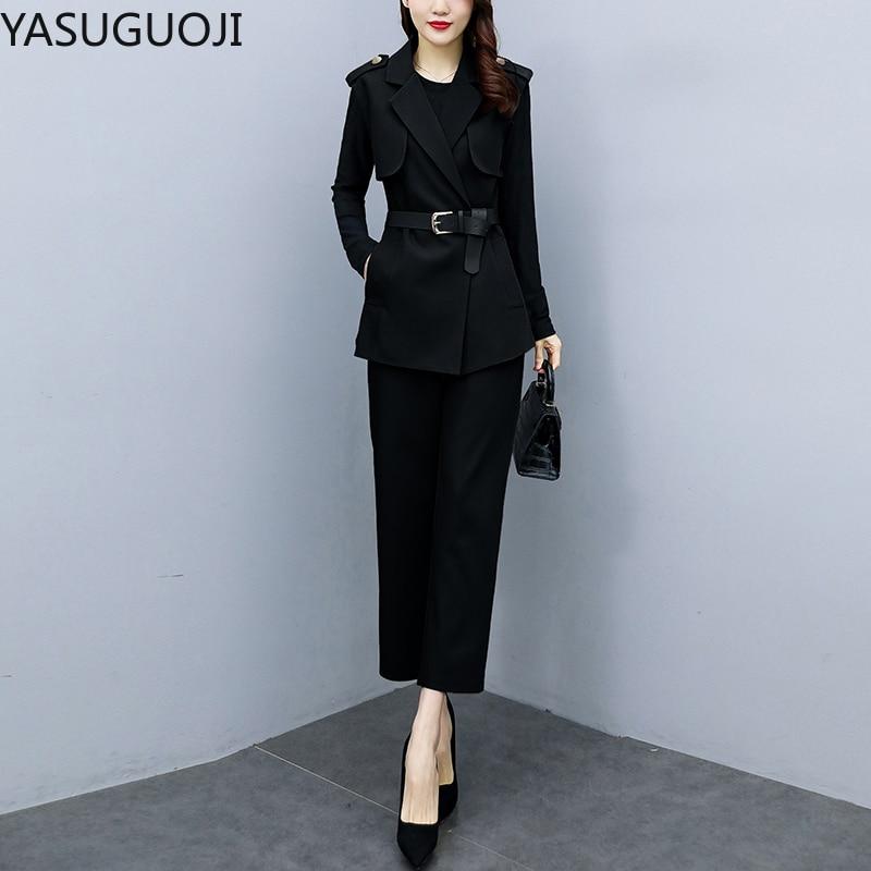 YASUGUOJI-طقم نسائي من 3 قطع ، ملابس مكتبية احترافية ، سترة سوداء محبوكة ، سترة وسراويل ، مجموعة جديدة 2021