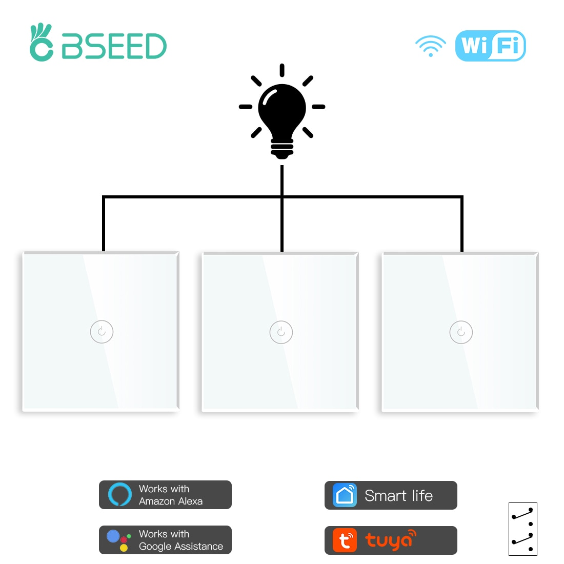 BSEED 3Pack Wifi Touch Switch 1Gang 1/2/3 Way Smart Wall Light Switch Wireless Alexa Switches Tuya Smart Home Switch 3 Positions